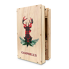 Personalized Reusable Plaid Stag Wooden Advent Drawer Christmas Calendar - Name