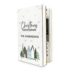 Personalized Reusable Winter Cottages Wooden Advent Drawer Christmas Calendar - Christmas Countdown