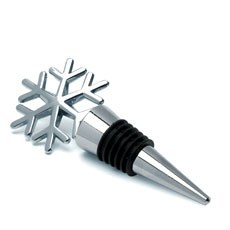 Wine Bottle Stopper Favor Snowflake Design