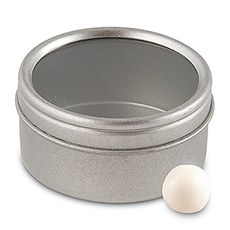 Small Silver Metal Round Tins with Lids (8)