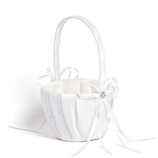 Scattered Pearls & Crystals Flower Girl Basket