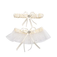 Scattered Crystals Bridal Garter Set with Pearl Accent