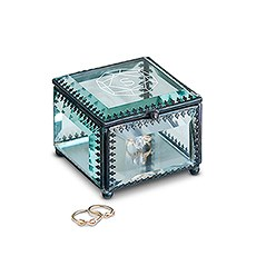 Small Personalized Vintage Glass Jewelry Box - Luxury Gem Engraving