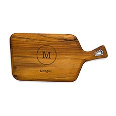 Personalized Natural Teak Wood Cutting and Serving Board with Handle- Typewriter Initial