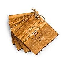 Monogram Rustic Olive Wood Coasters