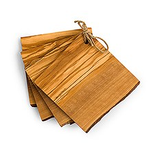 Set of 4 Rustic Wooden Coasters Bar Accessories