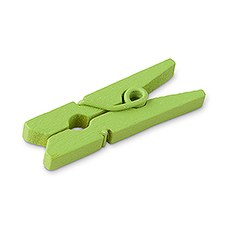 24 Green Mini Wooden Clips
