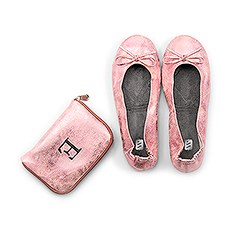 Personalized Foldable Ballet Flats Wedding Favor - Metallic Pink