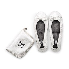 Personalized Foldable Ballet Flats Wedding Favors - Metallic Silver