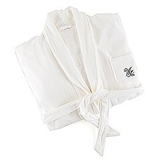 Personalized Embroidered Women's Bridal Spa & Bath Robe- White Mrs.