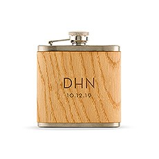 Personalized Oak Wood Wrapped Stainless Steel Hip Flask - Modern Monogram Print