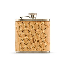 Personalized Oak Wood Wrapped Stainless Steel Hip Flask - Argyle Monogram Print