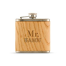 Personalized Oak Wood Wrapped Stainless Steel Hip Flask – Modern Text Print