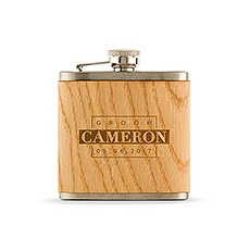 Personalized Oak Wood Wrapped Stainless Steel Hip Flask – Groom Monogram Print