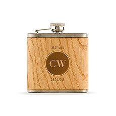 Personalized Oak Wood Wrapped Stainless Steel Hip Flask – Circle Monogram Print