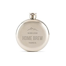 Mountain Engraved Round Silver Hip Flask for Men