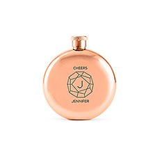 Personalized Rose Gold Stainless Steel Round Hip Flask – Gem Monogram Engraving