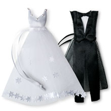 White Wedding Dress and Tuxedo Organza Favor Bags