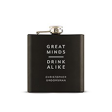 Personalized Engraved Black Hip Flask Wedding Gift - Great Minds Drink Alike