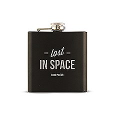 Personalized Engraved Black Hip Flask Wedding Gift- Lost in Space Engraving