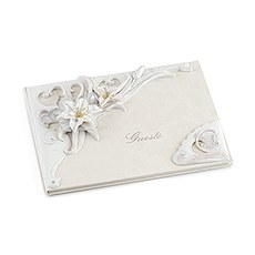 Sculptural White Tiger Lilies Traditional Guest Book