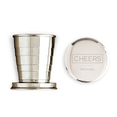 Engraved Collapsible Silver Shot Glass - Cheers Etching
