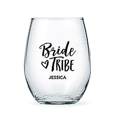 Personalized Stemless Wine Glass - Bride Tribe Print