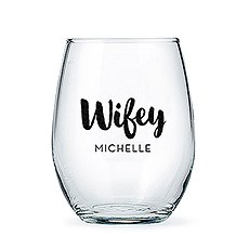 Personalized Stemless Wine Glass - Wifey Print