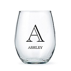 Personalized Stemless Wine Glass - Classic Monogram Print