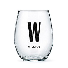 Personalized Stemless Wine Glass - Single Monogram Print