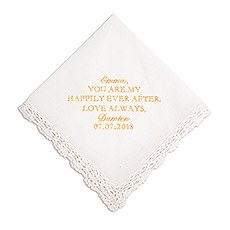 Personalized Embroidered White Pocket Handkerchief - Happily Ever After