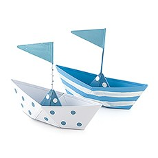 Blue and White Polka Dot and Striped Boat Favors (6)