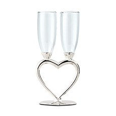 Silver Plated Interlocking Heart Stems Wedding Champagne Glasses