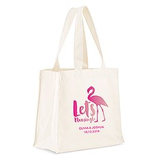 Custom Personalized White Cotton Canvas Fabric Tote Bag- Let's Flamingle