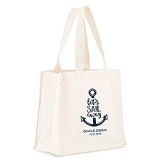 Custom Personalized White Cotton Canvas Fabric Tote Bag- Let's Sail Away