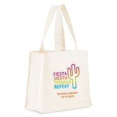 Personalized White Cotton Canvas Tote Bag- Fiesta Siesta Tequila Repeat