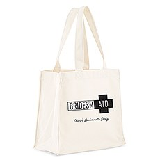 Custom Personalized White Cotton Canvas Fabric Tote Bag- Bridesmaid Survival Kit