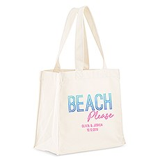 Custom Personalized White Cotton Canvas Fabric Tote Bag- Beach Please