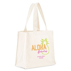 Custom Personalized White Cotton Canvas Fabric Tote Bag- Aloha Beaches