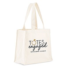 Custom Personalized White Cotton Canvas Fabric Tote Bag- Totes Engaged