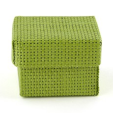 Natural Woven Favor Boxes With Lids - Grass Green