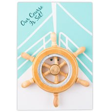 """Our Course is Set"" Boat Wheel Magnet Favor Gift (6)"