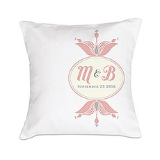"""Notable"" Personalized Ring Pillow with Double Floral Monogram"