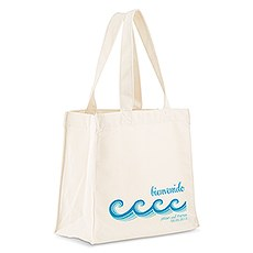Custom Personalized White Cotton Canvas Fabric Tote Bag- Stylized Waves