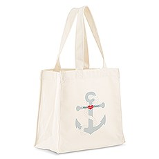 Custom Personalized White Cotton Canvas Fabric Tote Bag- Anchor