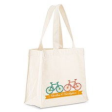 Custom Personalized White Cotton Canvas Fabric Tote Bag- Double Bicycle