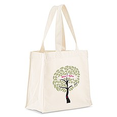 Personalized White Cotton Canvas Tote Bag- Love Bird Tree