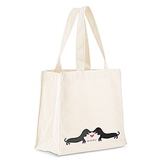 Personalized White Cotton Canvas Tote Bag- Puppy Love