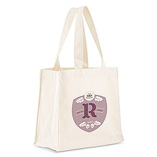 Custom Personalized White Cotton Canvas Fabric Tote Bag- Acorn Monogram