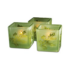 Deep Sandblasted Glass Leaf Cube Tea Light Holders